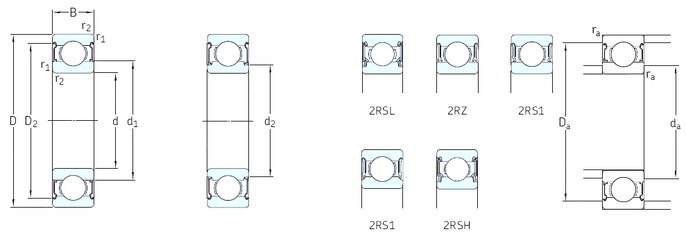 10 mm x 30 mm x 9 mm  SKF 6200-2RSH Deep groove ball bearing 6200-RSH Bearings size: 10x30x9 mm 6200-2RSH/C3